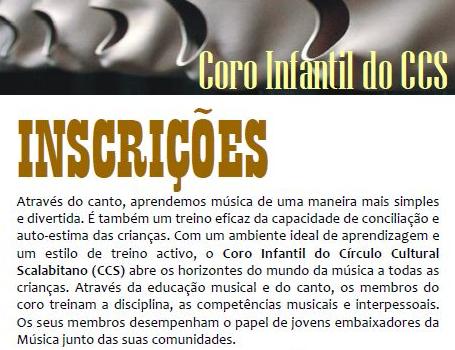Coro Infantil do CCS Inscrições