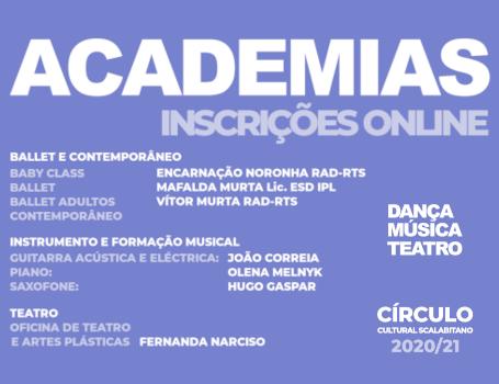 ACADEMIAS – Dança, Música, Teatro – inscrições 2020/21
